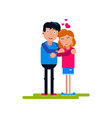 happy young couple standing vector image