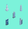 isometric building set of residential building vector image vector image