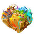 isometric colorful game island background vector image vector image