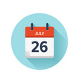 july 26 flat daily calendar icon date and vector image