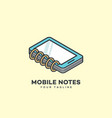 mobile notes logo vector image vector image