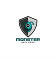monster anti virus logo vector image vector image