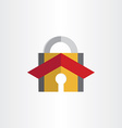 padlock with house roof security lock symbol vector image vector image