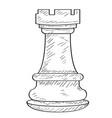 retro sketch of a rook chess piece vector image