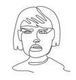sad woman one line art portrait facial expression vector image vector image