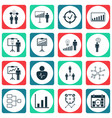 set of 16 executive icons includes personal vector image vector image