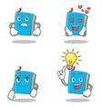 set of blue book character with angry love waiting vector image vector image