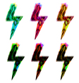 set of colorful lightning signs psychedelic light vector image vector image