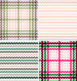 Set Wave tartan gradient background seamless vector image vector image