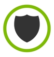 Shield flat eco green and gray colors rounded vector image