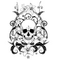 skull and lilies vector image vector image