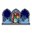 stained glass window depicting a christmas scene vector image vector image