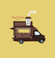 street coffee van food truck hand draw design vector image vector image