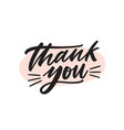 thank you handwritten black ink lettering vector image