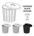 trash can icon in cartoon style isolated on white vector image vector image