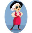 trendy stylish fashion senior woman cartoon vector image