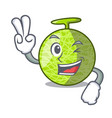 two finger fresh organic melon in the cartoon vector image