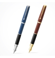 two Fountain pens isolated gold and silver vector image
