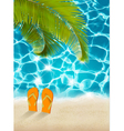 vacation background beach with palm trees and blue vector image vector image