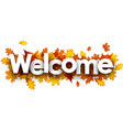 welcome banner with golden leaves vector image vector image