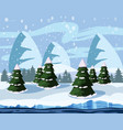 winter cute landscape christmas trees in the snow vector image vector image