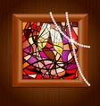 wooden frame and stained glass with champagne vector image vector image