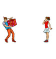 young man gives the girl a birthday present vector image vector image