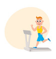 young man running on treadmill training in gym vector image
