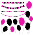 set of flat black and pink isolated silhouettes vector image