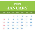 2019 calendar template - january vector image vector image