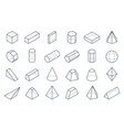 3d geometric shapes isometric linear forms cube vector image vector image