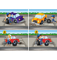 Accident scenes with broken car and mechanics vector image