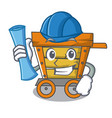 architect wooden trolley character cartoon vector image vector image