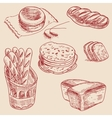 Bakery products hand drawn sketch different kinds vector image