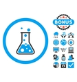 Boiling Liquid Flask Flat Icon with Bonus vector image vector image