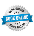 book online 3d silver badge with blue ribbon vector image vector image