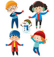boys and girls in winter clothes vector image vector image