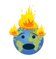 Burning planet Earth Global warming concept vector image vector image