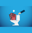 business hand flushing the problem word vector image vector image