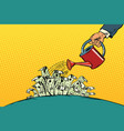 businessman watered money dollars from a watering vector image vector image