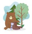 camping bear boot and lantern trees nature cartoon vector image vector image