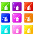 can of spray paint set 9 vector image vector image