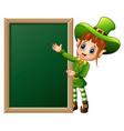 cartoon girl leprechaun presenting with chalkboard vector image vector image