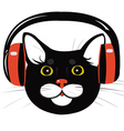 cat music headphones vector image vector image