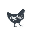 chicken hen poultry lettering vintage vector image vector image