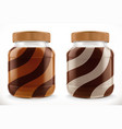 chocolate swirl duo spread in glass jar 3d vector image