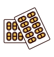 color silhouette blisterpack with pills yellow vector image vector image