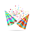 Colorful party hats with confetti for your holiday vector image vector image