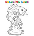 coloring book freshwater fishes 2 vector image