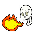comic cartoon fire breathing skull vector image vector image